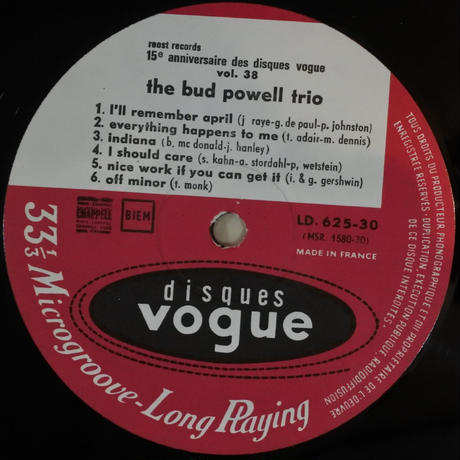 "Bud Powell  ‎– ""The"" Trio (Disques Vogue ‎– LD 625-30)mono"