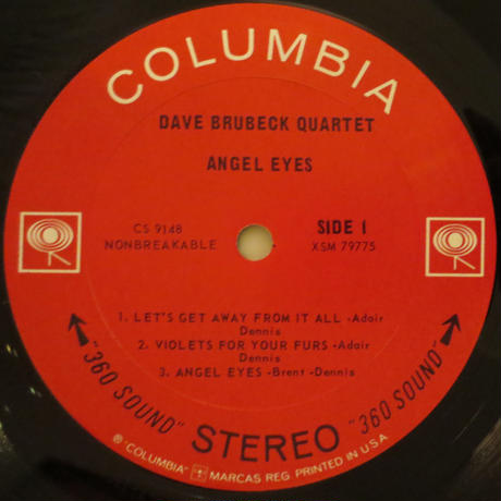 The Dave Brubeck Quartet ‎– Angel Eyes(Columbia ‎– CS 2348)stereo