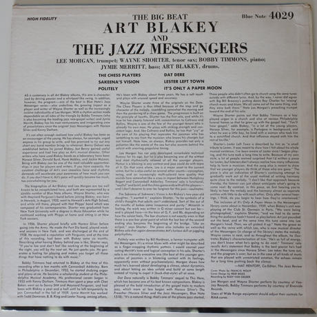 Art Blakey & The Jazz Messengers  ‎– The Big Beat (Blue Note ‎– BLP 4029)mono
