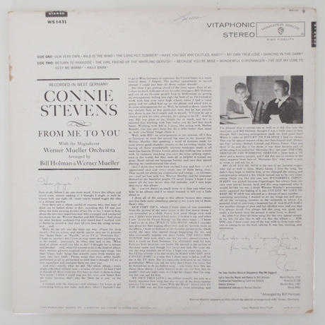 Connie Stevens ‎/ From Me To You (Warner Bros. WS 1431) stereo