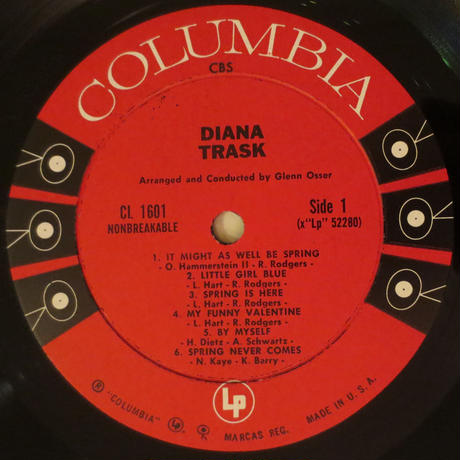 Diana Trask ‎– Diana Trask(Columbia ‎– CL 1601)mono