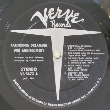Wes Montgomery ‎– California Dreaming(Verve Records ‎– V6-8672)stereo