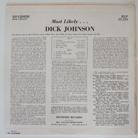 Dick Johnson  – Most Likely... (Riverside Records – RLP 12-253)mono
