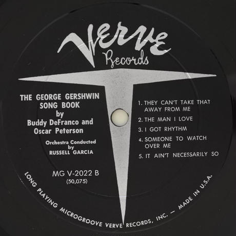 Buddy De Franco And Oscar Peterson ‎– The George Gershwin Song Book( Verve Records ‎– MGV 2022)mono