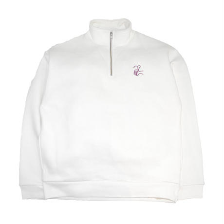 OldGoodThings HALF ZIP SWEAT (Goody) WHITE