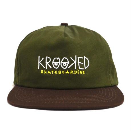 KROOKED SNAPBACK (EYES) OLIVE BROWN
