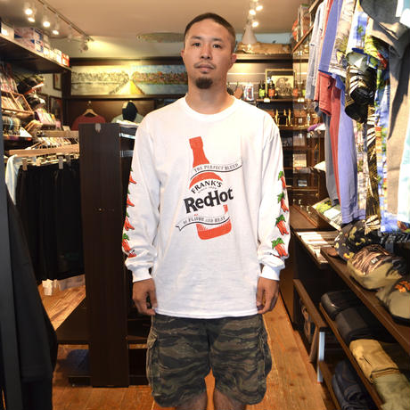 FRANK'S RED HOT L/S T-SHIRTS (PEPPER BOTTLE) WHITE