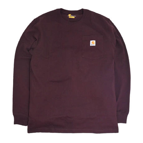CARHARTT USA L/S POCKET T-SHIRTS BURGUNDY