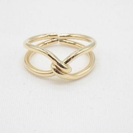 【EC-11】結び目デザイン ゴールドカラー リング 指輪