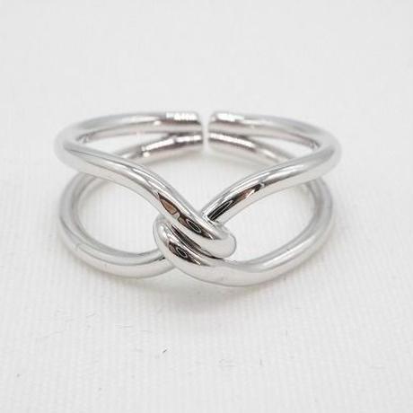 【EC-12】結び目デザイン シルバーカラー リング 指輪