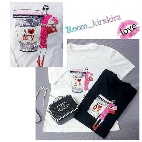 I❤NY,Coffee,ピンクGirl Tシャツ