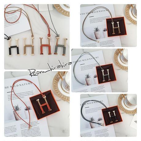 牛革製Hロープネックレス