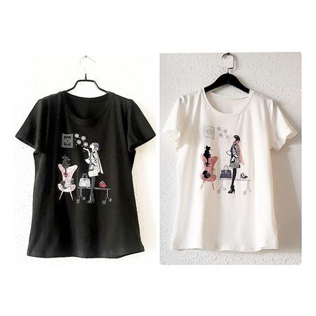お洒落ガールのビジューTシャツ