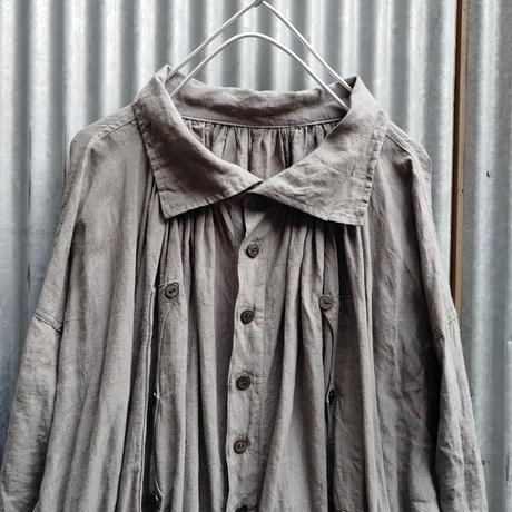 羊飼いワンピースコート リネングレー