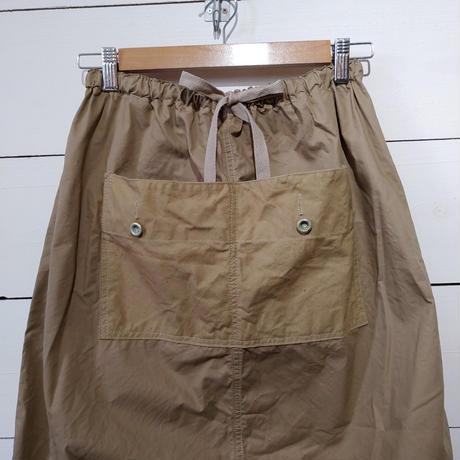 パッチワークポケットのバルーンスカート★ベージュ★ワンウォッシュ