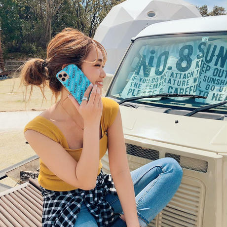 POCKET iPhone case light blue(ステッカー付)