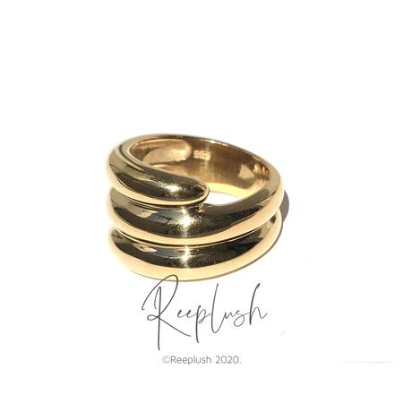 silver925 K18GP Mason Ring /size:#12,14