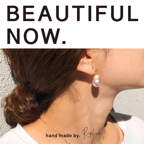 BEAUTYFUL NOW silver925 K18GP and baroquepearl earring〈StyleNo.010904-handmade1〉
