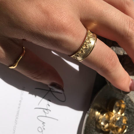 silver925 K18GP ring -Boho Overrap - <Style No.010904-18> Free size(#15程度~)