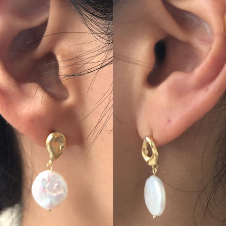 silver925 K18GP -Asymmetry Drop Pearl Pierced- <Style No.010904-92>