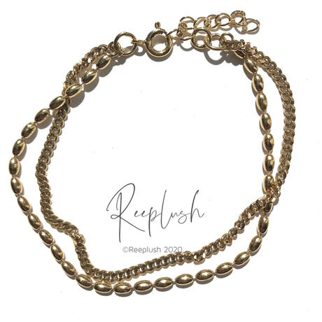 silver925 K18GP Double Chain Bracelet