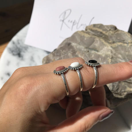 silver925 Boho Stone Ring/size:M<Style No.010904-6>
