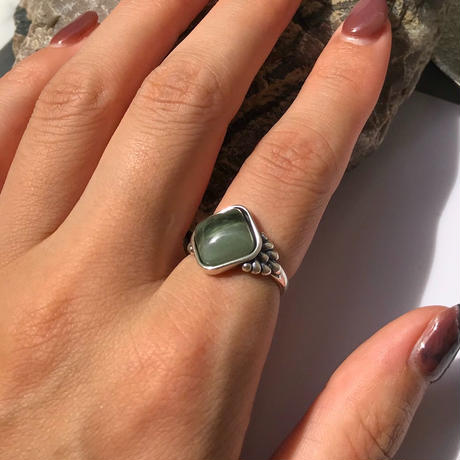 silver925 Open ring -Boho Green Agate Stone - <Style No.010904-19>  Free size(#12程度~)