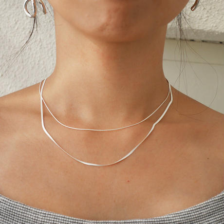silver925   -Double strand Snake Chain Necklace-〈StyleNo.010724-26〉