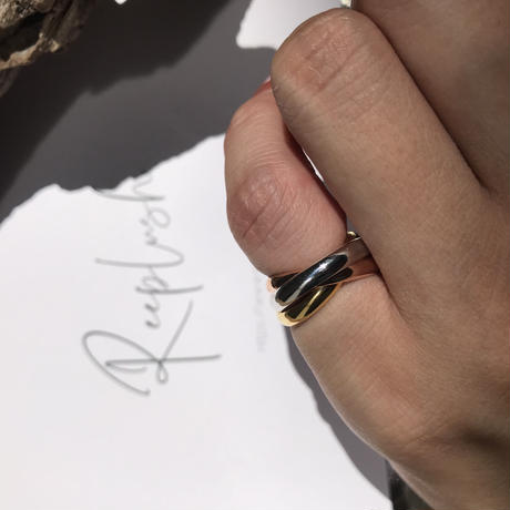 silver925 pinkyring MixcolorTripleLayered/size:S〈StyleNo.010724-15〉