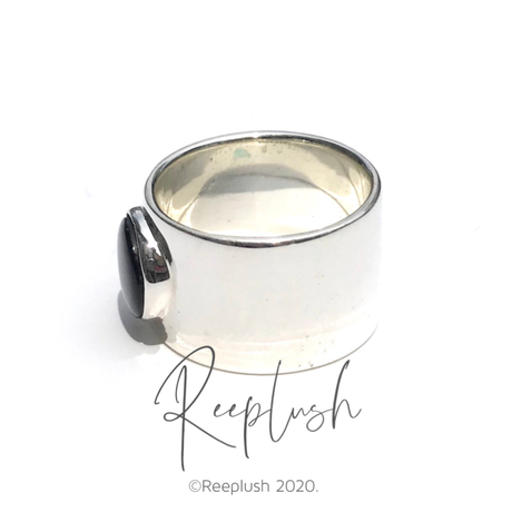 silver925 Onyx Ring/size:#10,#12