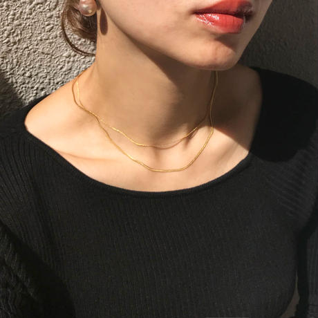 silver925  K18GP -Double strand Snake Chain Necklace-〈StyleNo.010904-70〉