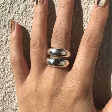 silver925 Double plump ring/size:#14〈StyleNo.011016-8〉