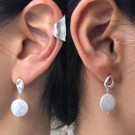 silver925 -Asymmetry Drop Pearl Pierced- <Style No.010904-91>