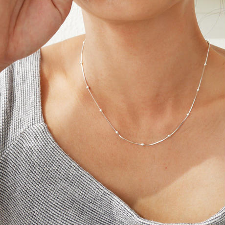 silver925   -Dot Short Chain Necklace-〈StyleNo.010724-27〉