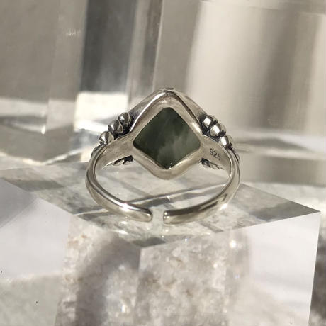 silver925 Boho Green Agate Stone Ring/size:M<Style No.010904-19>