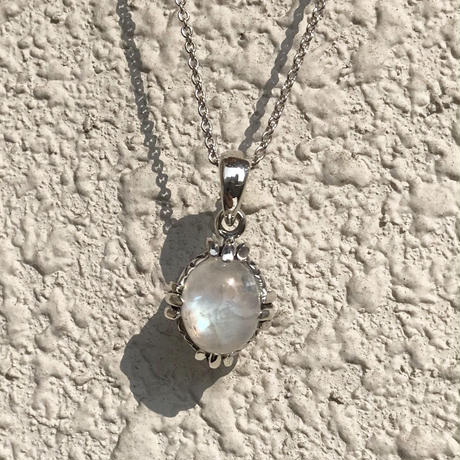 silver925 Rainbow Moon stone Necklace/50cm〈Style No.020203-45〉