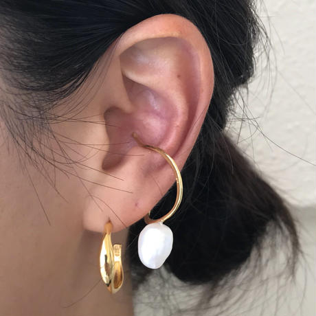 silver925  K18GP - Drop Pearl Earcuff -〈StyleNo.010904-86〉gold/1peace