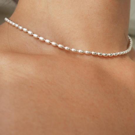 silver925  -Ricechain Choker-〈StyleNo.010724-50〉