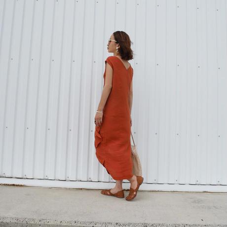 リネンフロントドレープドレス/orange