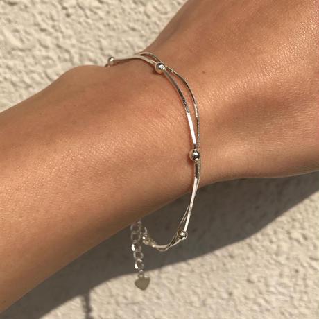silver925 Double Ball chainBracelet〈StyleNo.020203-138〉