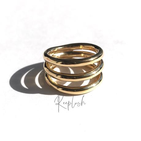 silver925 K18GP Tripartite Ring/size:M