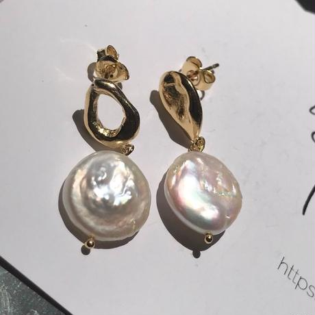silver925 K18GP Asymmetry Drop Pearl Pierced<Style No.010904-92>