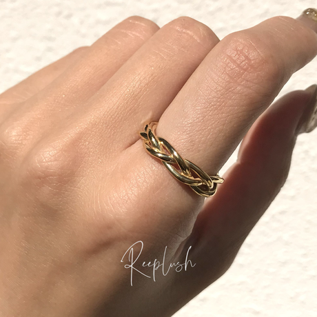 silver925 K18GP Intertwined Ring/size:#11,13,15