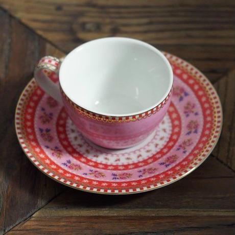 コーヒーカップ、受け皿セット ピンク