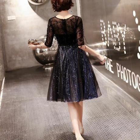 フレア エレガント 切り替え ひざ上  ドレス パーティー  ドレス