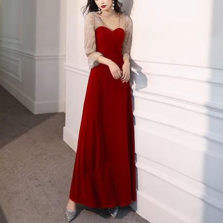 Aライン 異素材 マキシ丈 シースルー  上品 パーティー ドレス