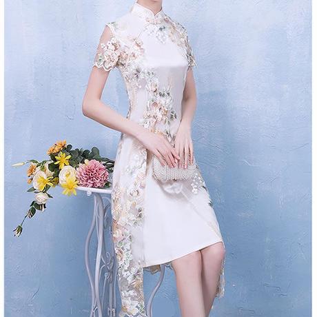 フラワー 刺繍  シースルー スリット  ミディアム ドレス
