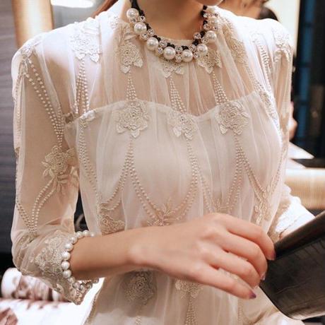 マキシワンピース 透け感 刺繍 ゴールデン シースルー レース パーティースタイル 結婚式 お呼ばれ ロングドレス