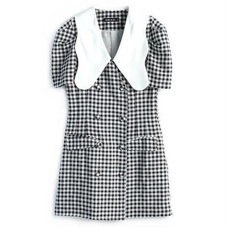 ギンガム チェック レトロ 襟 ドレス