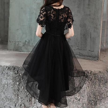 フレア袖 シフォン チュール シースルー  フィッシュテール  お呼ばれ   体型カバー 大人女子 レース  半袖 袖あり  カジュアル フォーマル デート 結婚式 ドレス